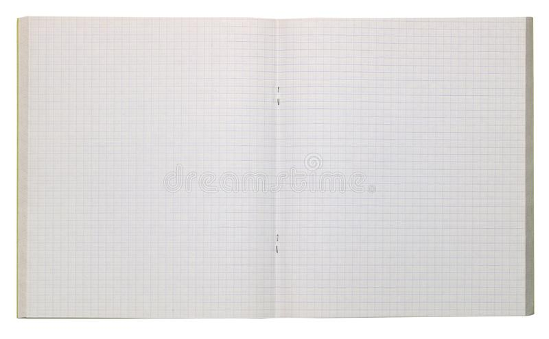 The school student`s empty open notebook is formatted into a squ. Are cell. Isolated on white with patch royalty free stock photography