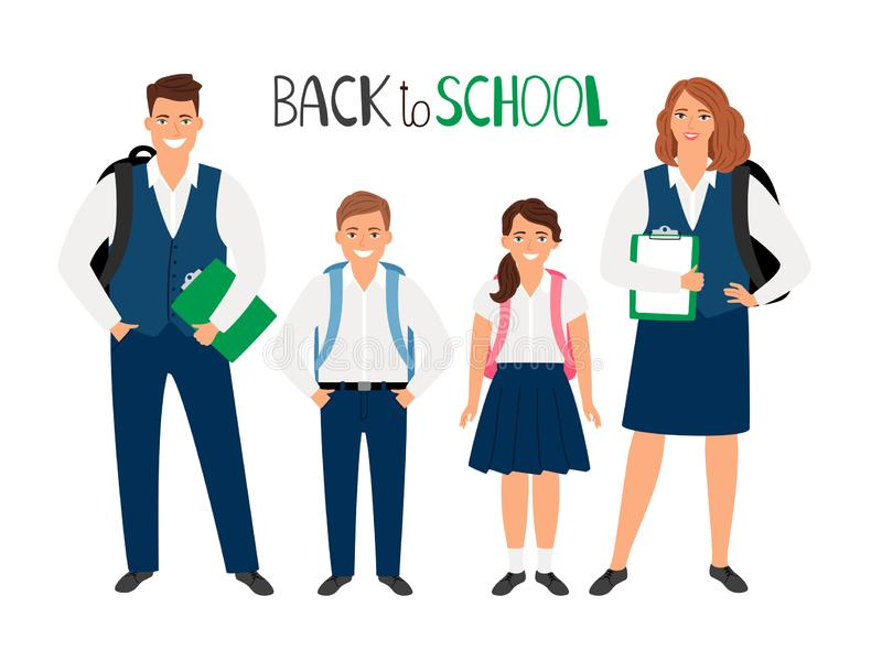 School students collection royalty free illustration