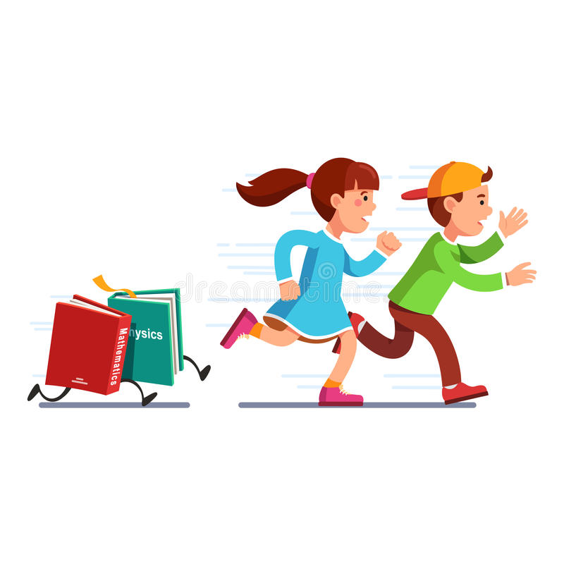 School students girl and boy running from books stock illustration