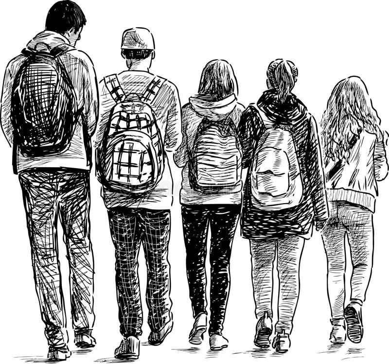 School students. Vector images of the walking teenager vector illustration