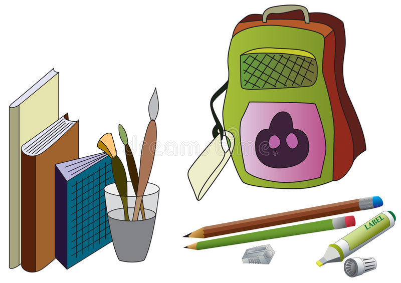 School stuff. School Supplies royalty free illustration