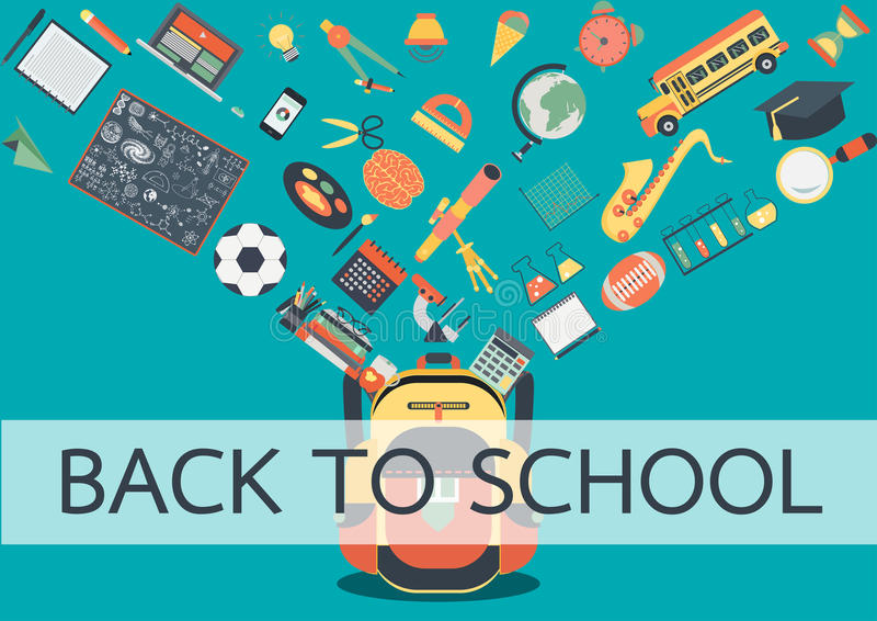 School stuffs flowing into school back. Back to school concept for background ,banner, poster and design element vector illustration