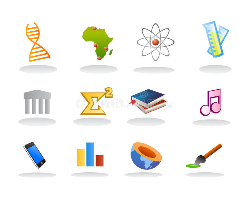 School subject icons. Vectored illustrations as icon set for school, college matters to study, as biotechnology, geography, politics, chemistry, physics, history