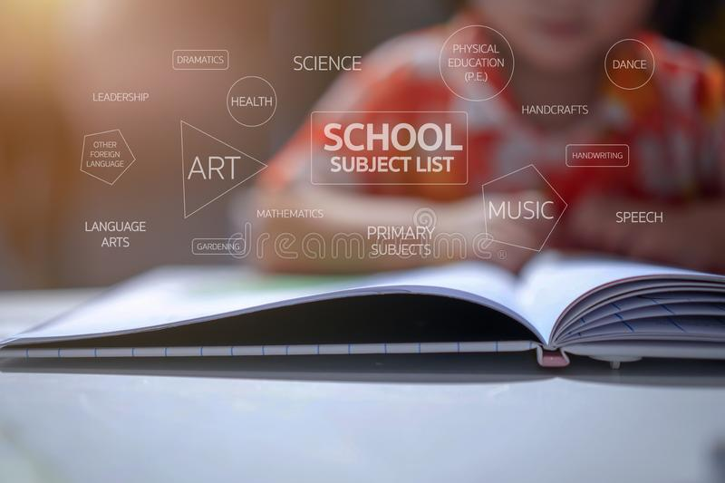 School subject list texts with kindergarten kid background, she was sitting and reading a book on white table royalty free illustration