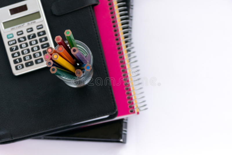School suplies. Back to school. Stationery isolated on white stock photography