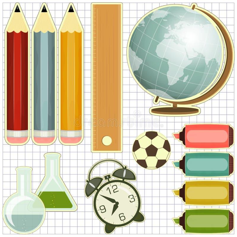School Supplies. Education icons - Globe, pencils, alarm clock - illustration royalty free illustration