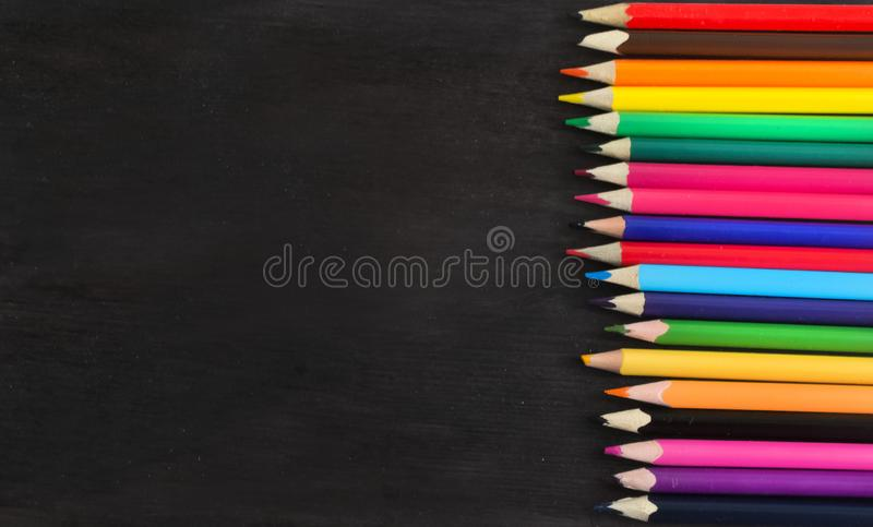 School supplies and accessories on blackboard background. concept Back to school royalty free stock images