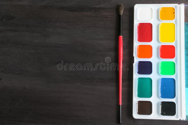 School supplies and accessories on blackboard background. concept Back to school royalty free stock photography