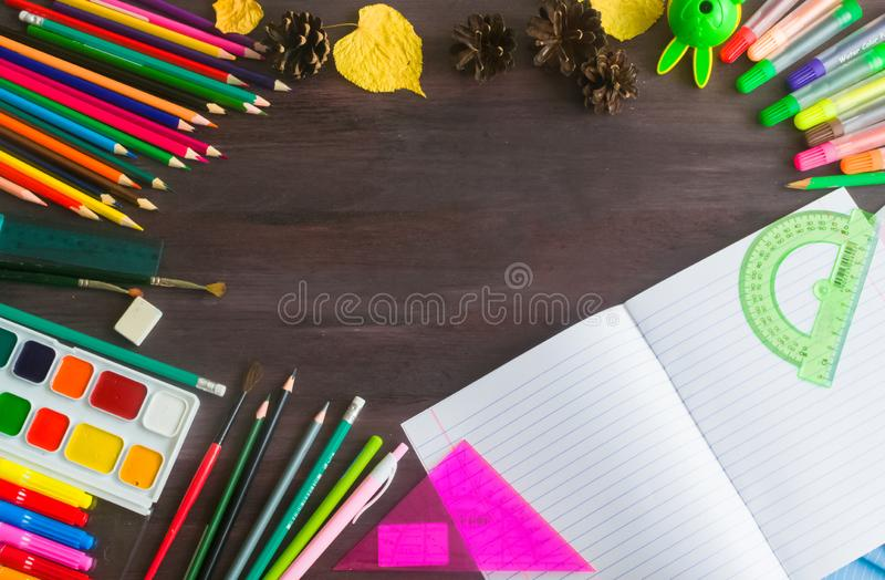 School supplies and accessories on blackboard background. concept Back to school. Concept back to school.School supplies and accessories on blackboard background stock images