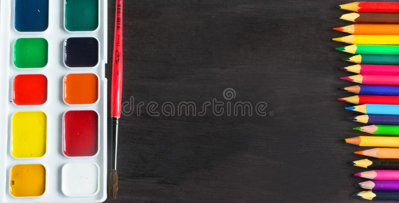 School supplies and accessories on blackboard background. concept Back to school stock photo