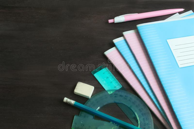 School supplies and accessories on blackboard background. concept Back to school stock image