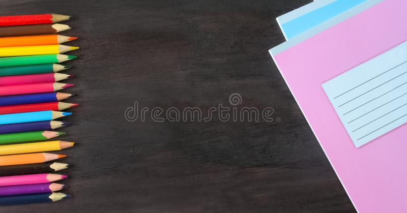 School supplies and accessories on blackboard background. concept Back to school stock photography