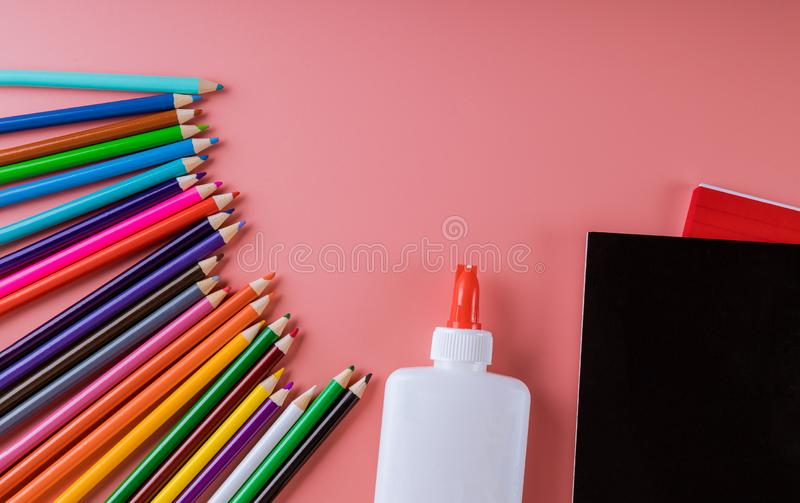 School supplies for back to school, college royalty free stock images
