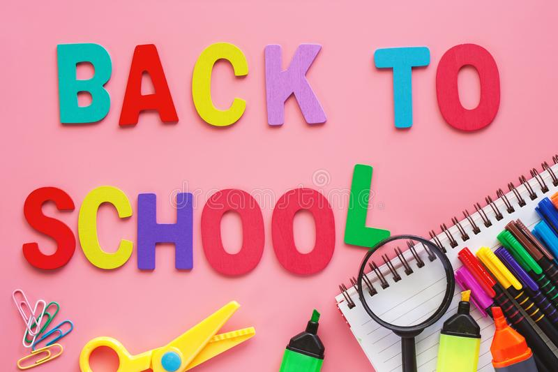 School supplies for Back To School concept stock photography