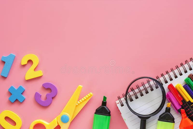 School supplies for Back To School concept royalty free stock images