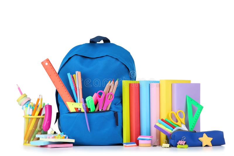 School supplies with backpack royalty free stock photos