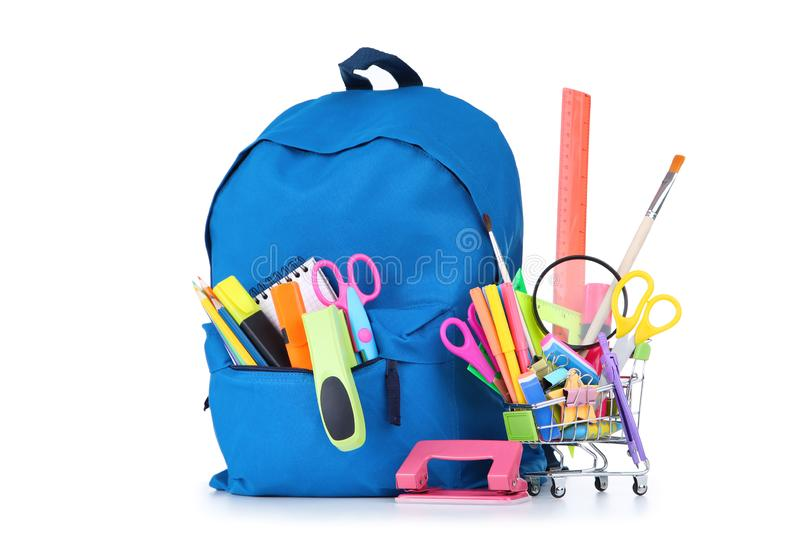 School supplies with backpack royalty free stock photography