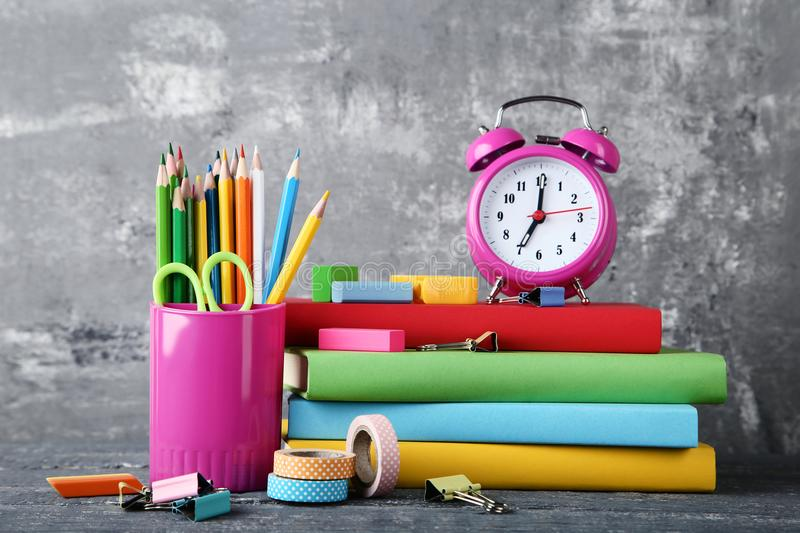 School supplies with books stock photo
