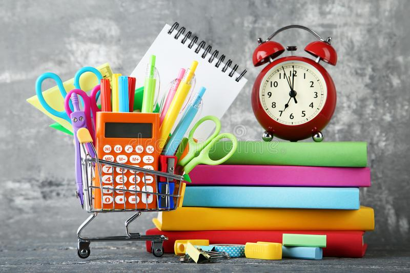 School supplies with books royalty free stock image