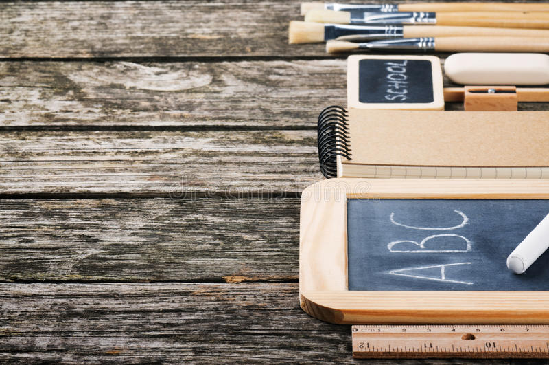 School supplies in brown tone