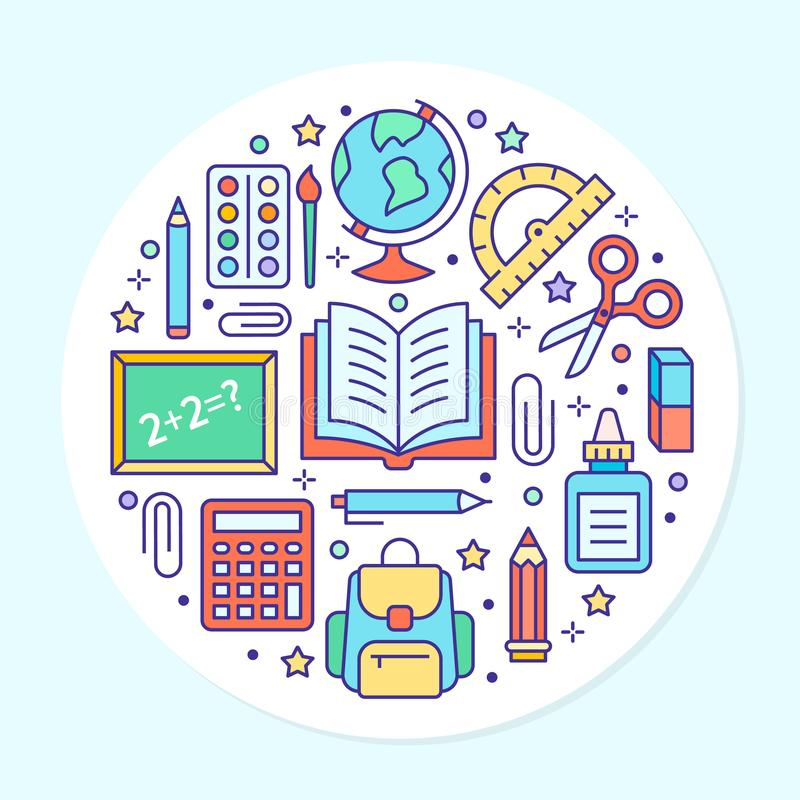 School supplies circle template with line icons set. Study tools poster - globe, calculator, book, pencil, scissors stock illustration