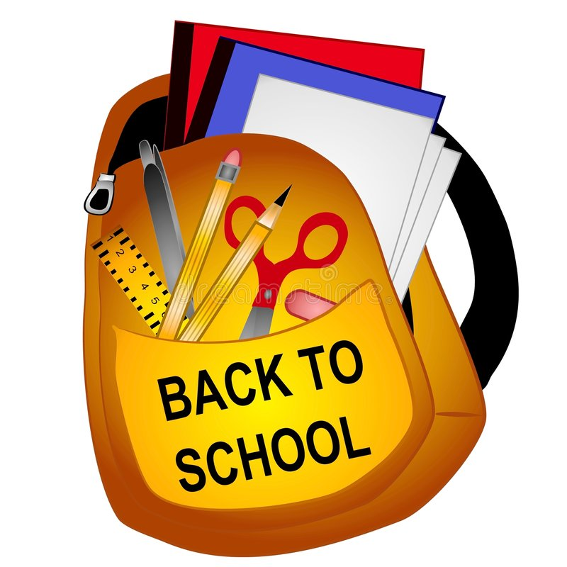 School Supplies Clip Art. A clip art illustration of a backpack filled with back to school supplies including binders, paper, ruler, scissors, pencil,pen,eraser
