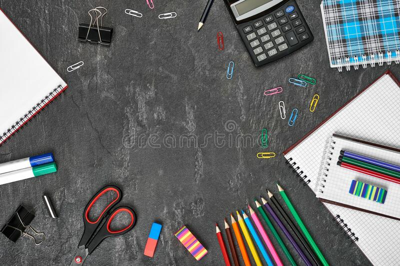 School supplies close-up. Copy space. Free space for text royalty free stock photography