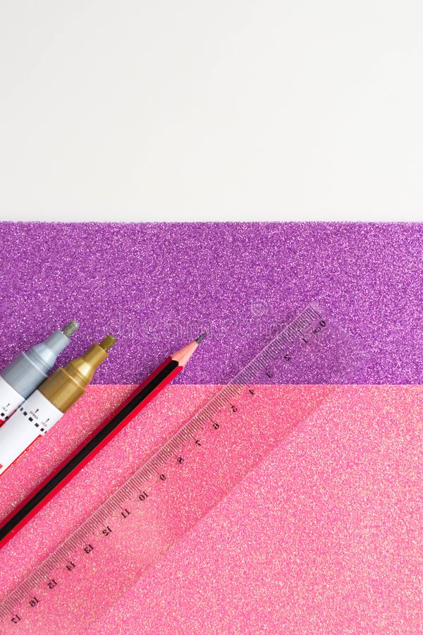 school supplies. colored glitter, pencils, markers and ruler stock photos