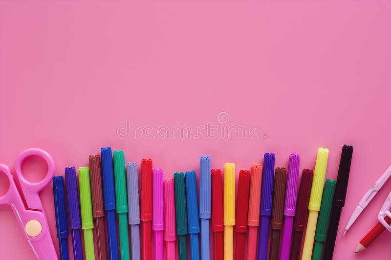School supplies for Back To School concept royalty free stock photo