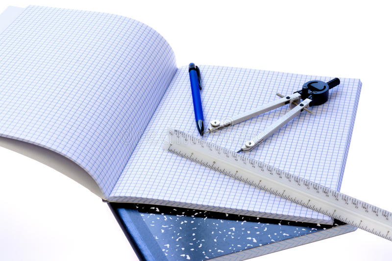 School Supplies Compass, Scale, And Graph Paper Stock Photo - Image of  squares, tools: 32992616