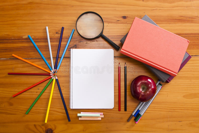 School supplies on the desktop royalty free stock photos