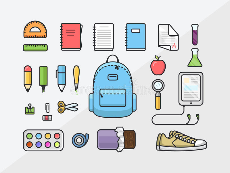 School supplies icon set, back to school outline illustration, flat template of educational kit royalty free illustration