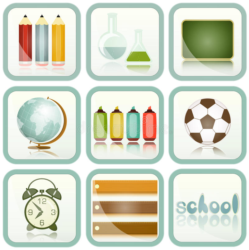 Download School Supplies icons set stock vector. Image of stationery - 25829419