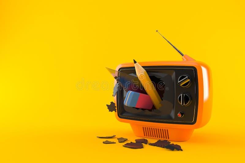 School supplies inside tv set. Isolated on orange background. 3d illustration vector illustration