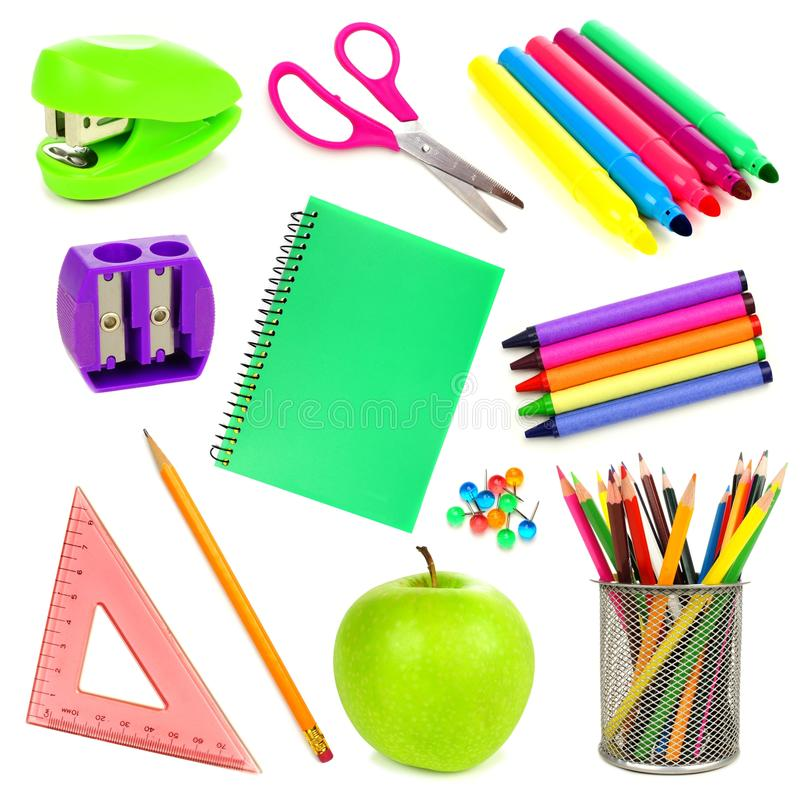 School supplies isolated royalty free stock photo