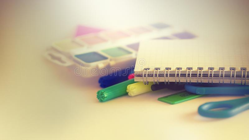 School supplies on light background royalty free stock photo