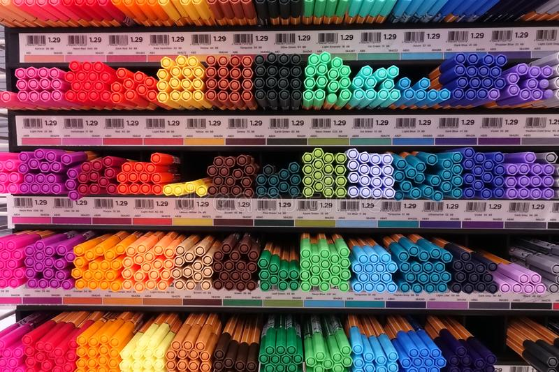 School Supplies at a local retail store royalty free stock image