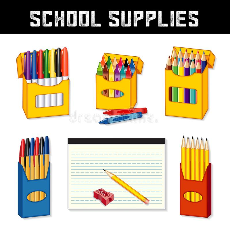School Supplies, Markers, Crayons, Pens, Pencils, Lined Paper royalty free illustration