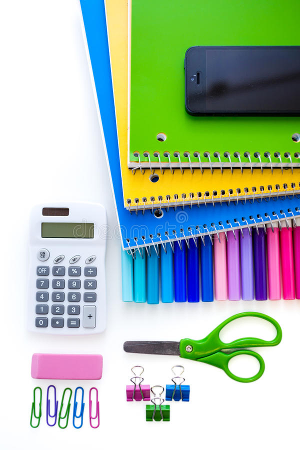 School supplies. New school supplies prepared for new school year stock images