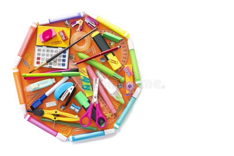 School supplies octagon shape back to school concept on white stock image
