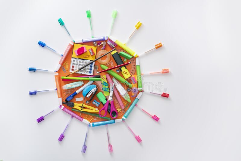 School supplies octagon with sun shape back to school concept stock image