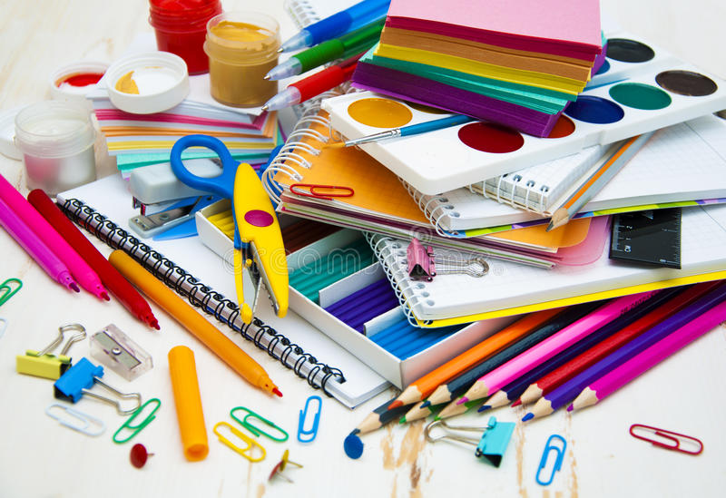 School supplies. School office supplies on the table royalty free stock images