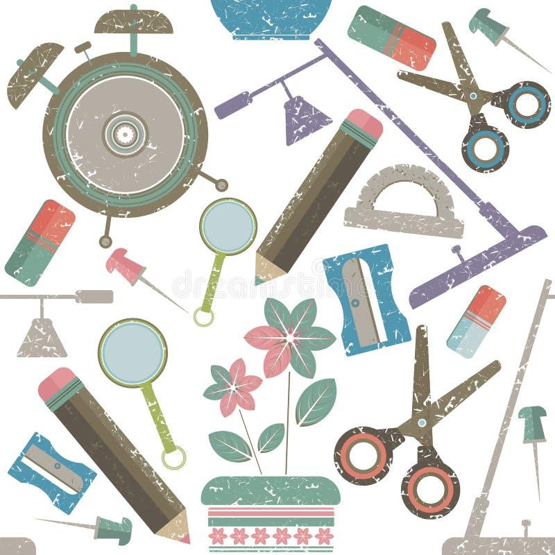 School supplies pattern vector illustration