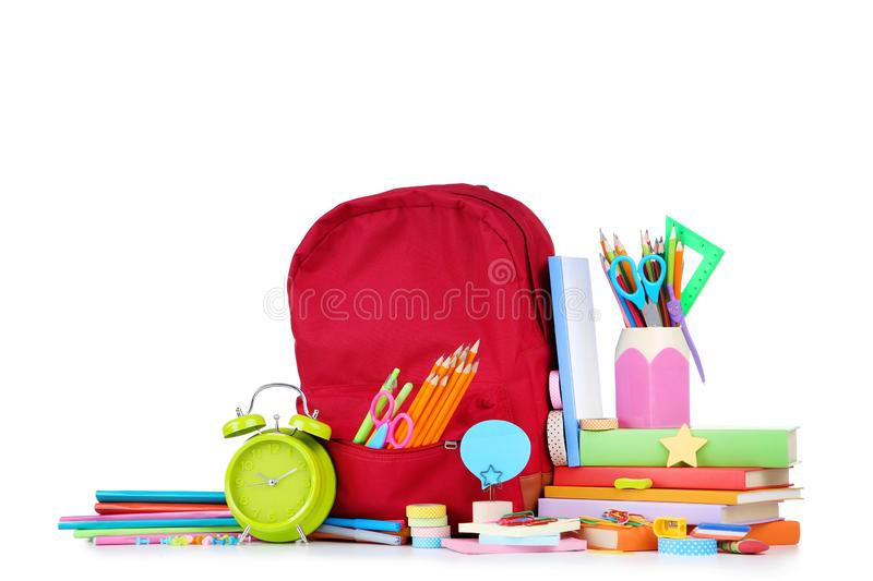 School supplies with backpack royalty free stock image