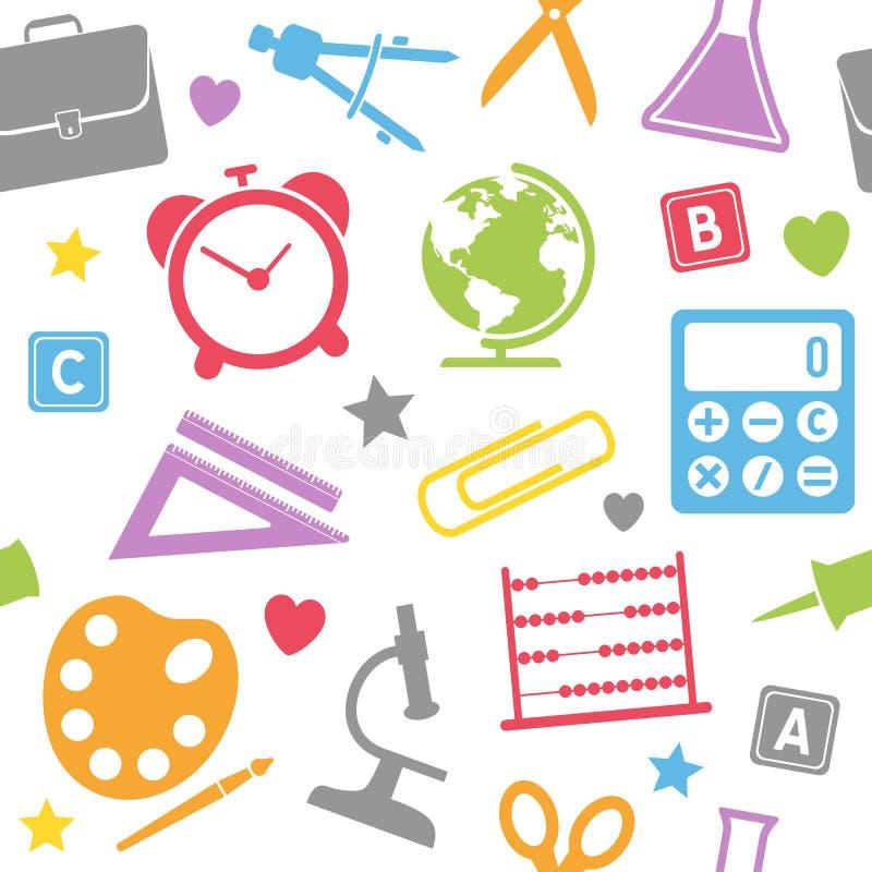 School Supplies Seamless Pattern royalty free illustration
