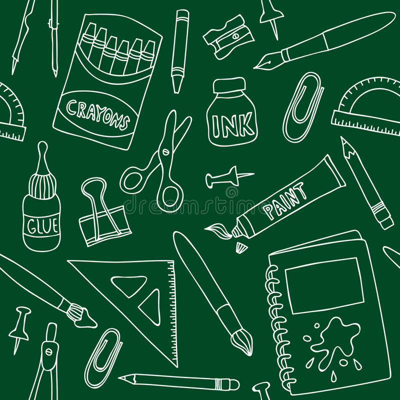 Download School Supplies Seamless Pattern Stock Vector - Image: 28821000