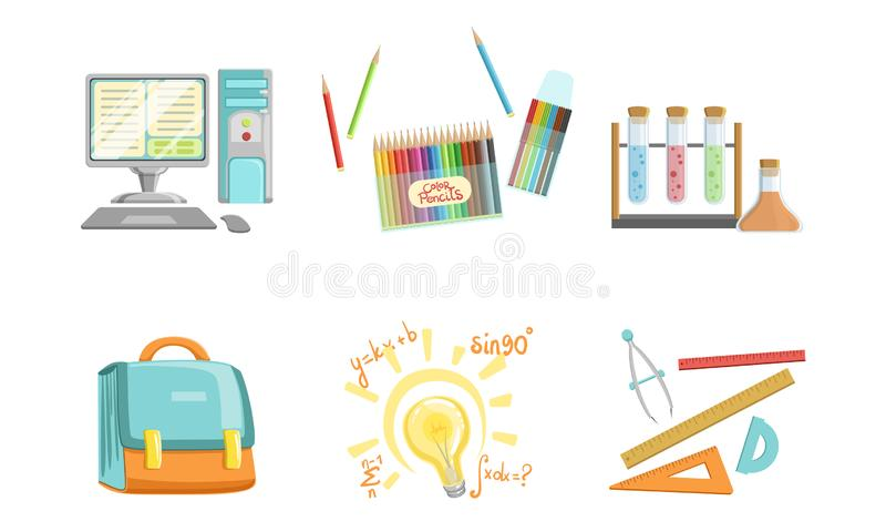 School Supplies Set, Computer, Crayons, Test Tubes, Ruler, Compass Tool, Triangle, Protractor, Briefcase, Back to School stock illustration