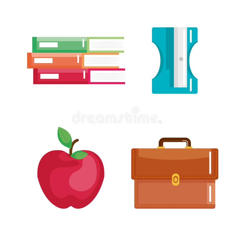 School supplies set icons royalty free illustration