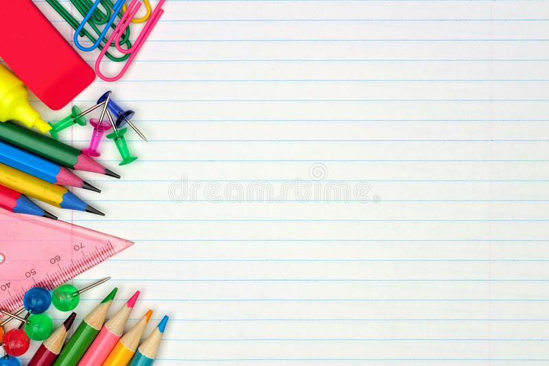 Download School Supplies Side Border On Lined Paper Background Stock Image    Image Of Above,  Line Paper Background