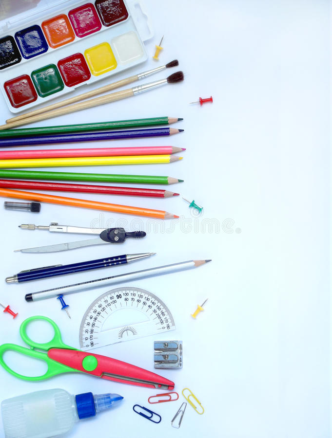 School supplies side border stock photo